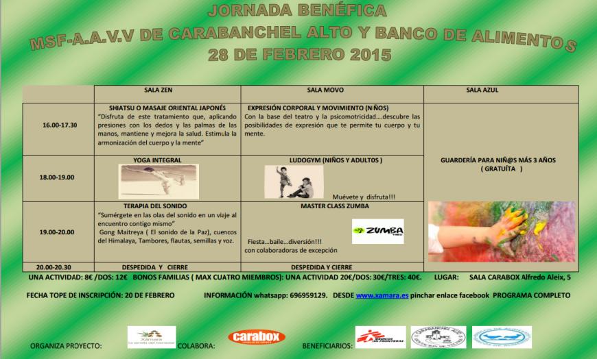Jornada benéfica MSF - AAVV Carabanchel Alto y banco de alimentos 28 de febrero