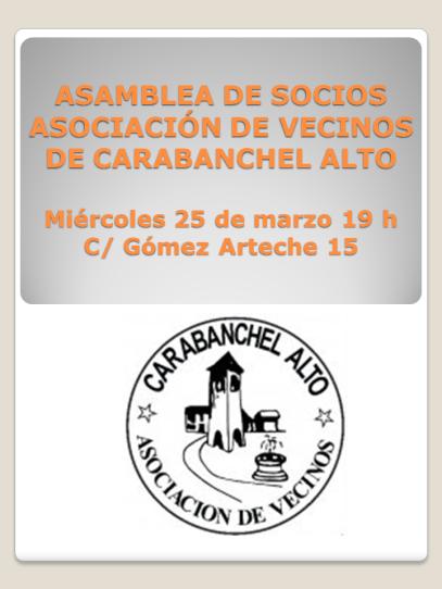 ASAMBLEA DE  SOCIOS ASOCIACIÓN DE VECINOS DE CARABANCHEL ALTO