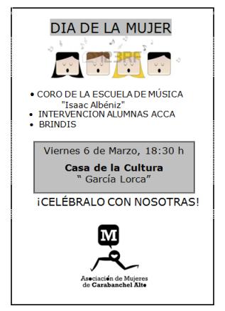 Cartel Día de la mujer Carabanchel Alto 6 de marzo