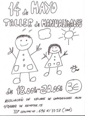 Taller de manualidad en la Asociación de Vecinos de Carabanchel Alto el 14 de mayo