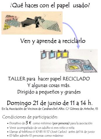 Taller de reciclado de papel 21 de junio Carabanchel Alto