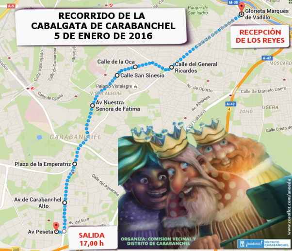 Recorrido Cabalgata Carabanchel 2016