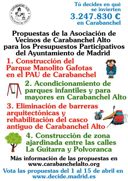 Cartel 2 Propuestas Asociación a los Presupuestos Participativos