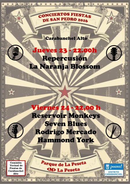 Cartel conciertos San Pedro 2016