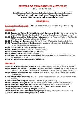 Programa Fiestas Carabanchel Alto 2017 P1
