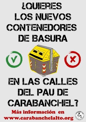 Nuevos contenedores de basura en el PAU de Carabanchel