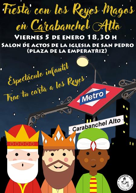 Cartel Fiesta con los Reyes Magos en Carabanchel Alto