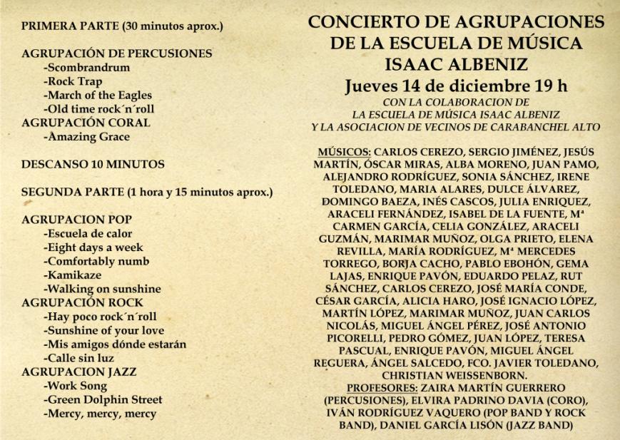 Programa Fiesta Navidad Escuela de Música