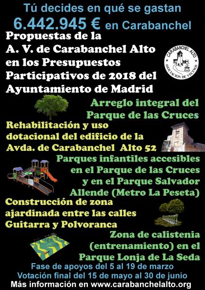 Cartel Propuestas AV Carabanchel Alto en PP 2018