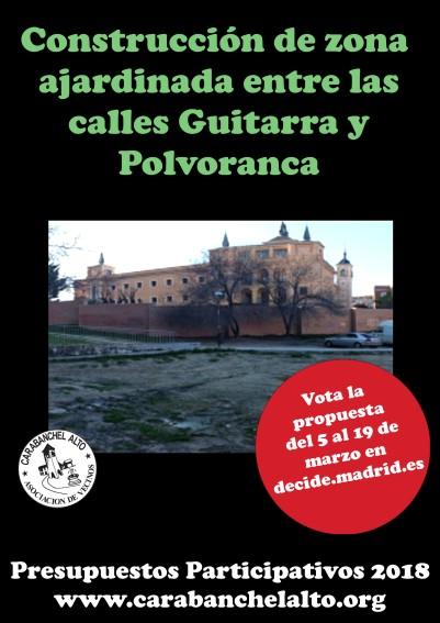 Construcción de zona ajardinada entre calles Guitarra y Polvoranca