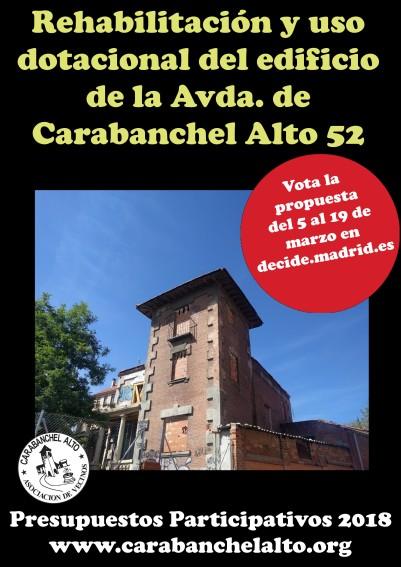 Propuesta Arreglo y uso dotacional edificio Avda. de Carabanchel Alto 52