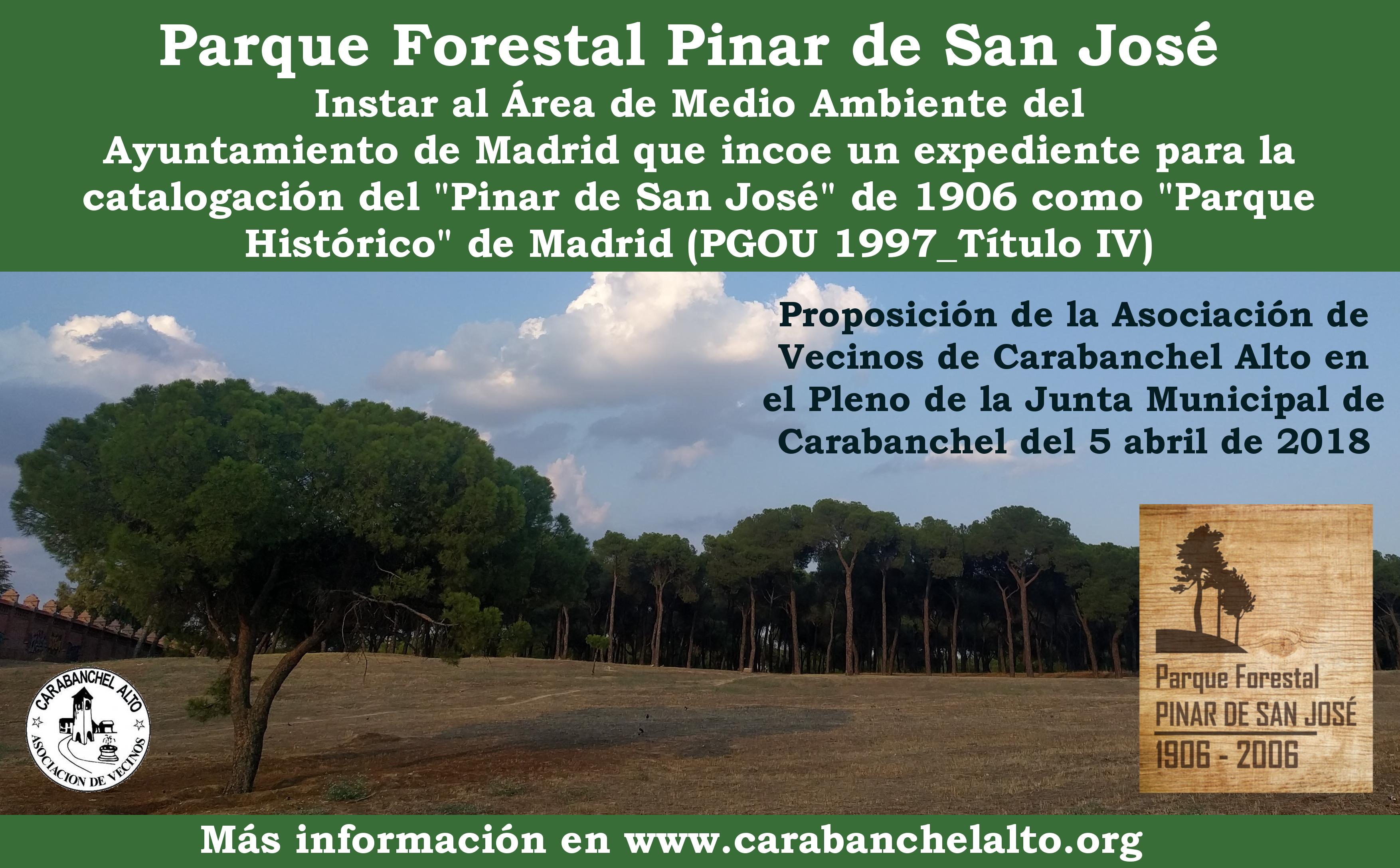 Proposición en el Pleno para catalogar el Pinar de San José como Parque  Histórico de Madrid | Asociación Vecinal de Carabanchel Alto