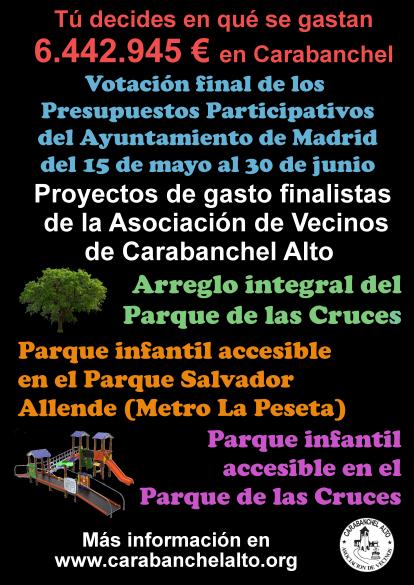 Cartel Fase Final Propuestas AV Carabanchel Alto en PP 2018
