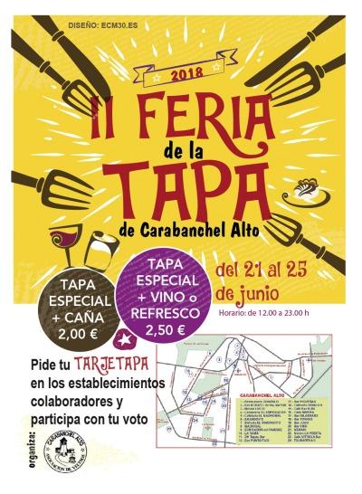 Cartel II Feria de la Tapa de Carabanchel Alto