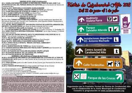 Díptico Programa Fiestas de Carabanchel Alto 2018 exterior