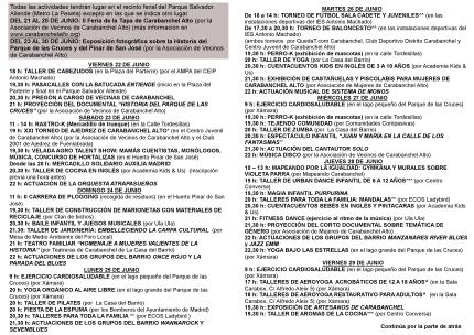 Díptico programa Fiestas de Carabanchel Alto 2018 interior