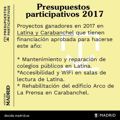 Presupuestos Participativos 2017 con financiación