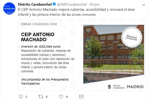 Tweet Obras Colegios 2018 CEIP Antonio Machado