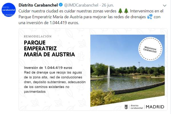 Tweet Remodelación Parque Emperatriz María de Austria
