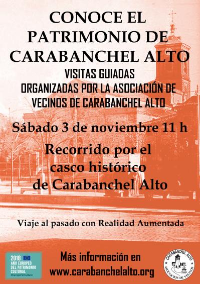 Cartel Visita guiada Conoce el patrimonio de Carabanchel Alto 3 de noviembre