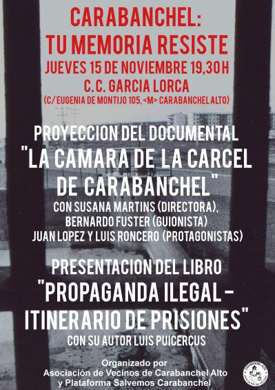 Cartel COLOR acto 15 de noviembre Carabanchel Tu memoria resiste en CC García Lorca