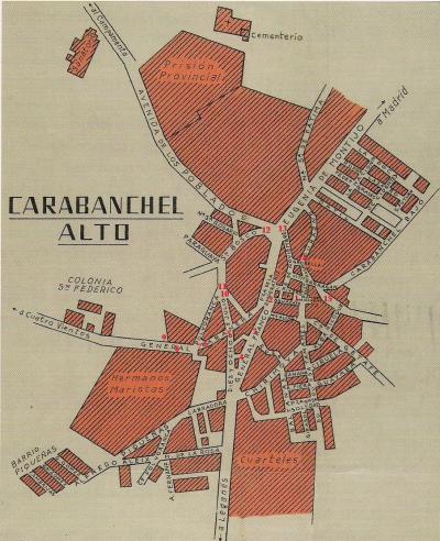 Mapa de Carabanchel Alto de 1958 con los puntos del recorrido