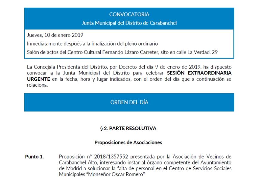 proposición av carabanchel alto sobre centro servicios sociales